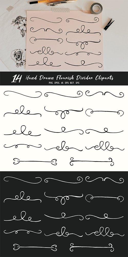 Hand drawn flourish cliparts. Divider clipart html