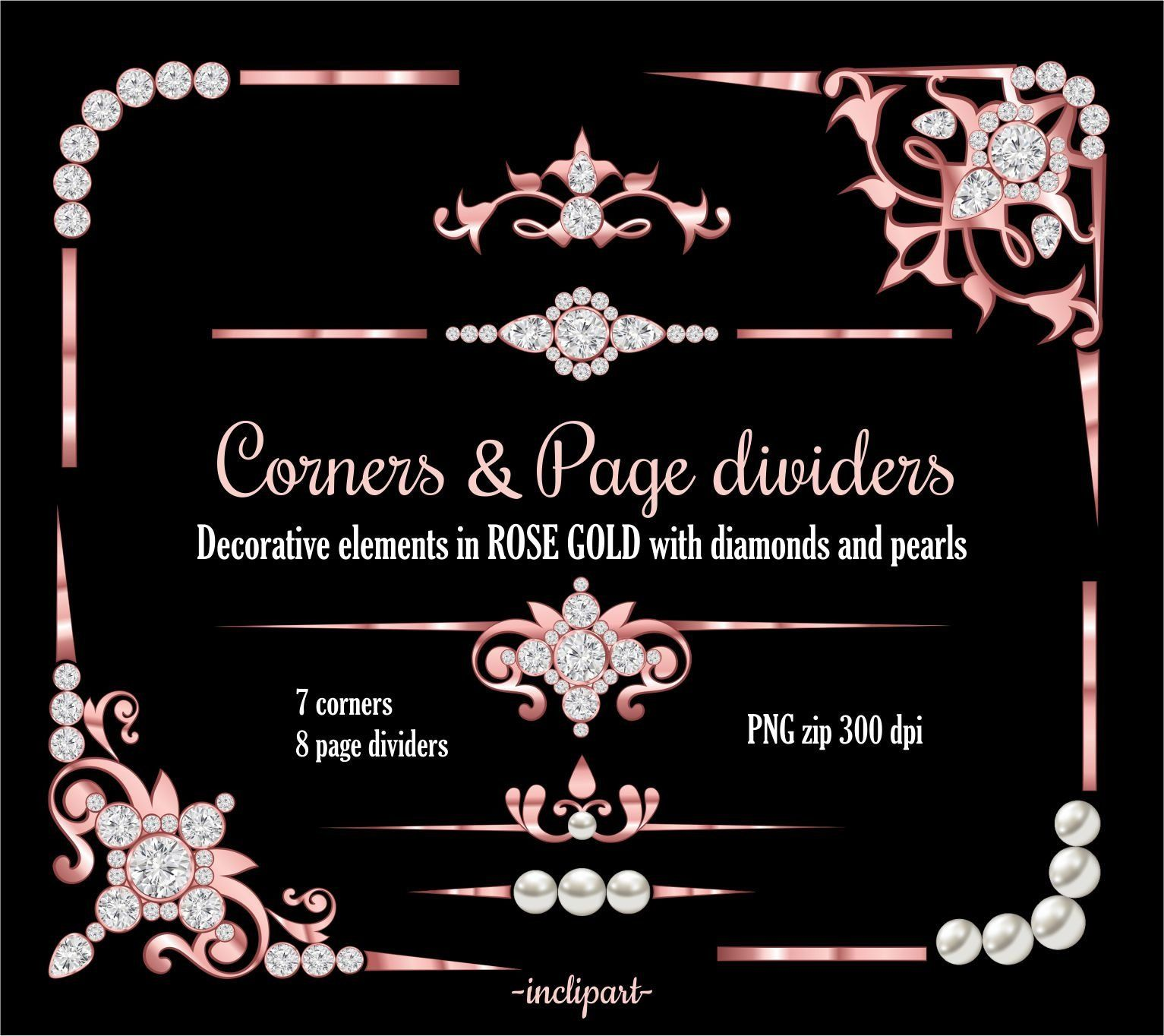 Pearls clipart divider. Rose gold corner page
