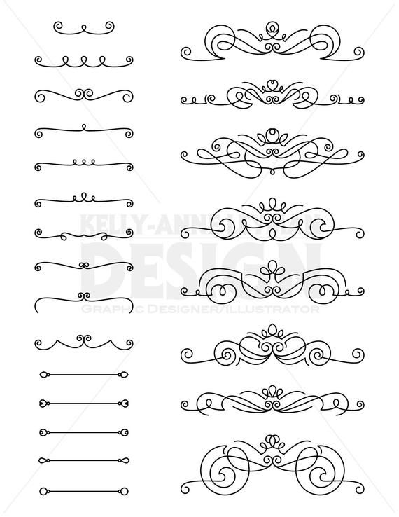 Flourishes text digital border. Divider clipart vector