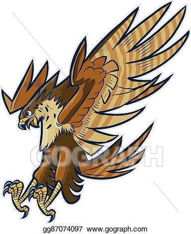 Eagle clipart diving. Vector art hawk or