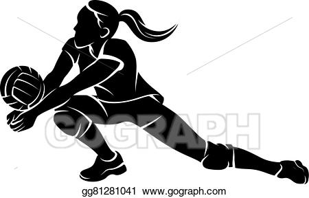 Eps illustration dig girl. Volleyball clipart female volleyball player