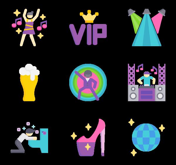 Disco icons free vector. Dj clipart discotheque