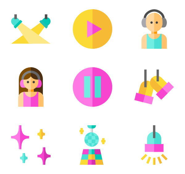 Dj clipart discotheque. Club icons free vector