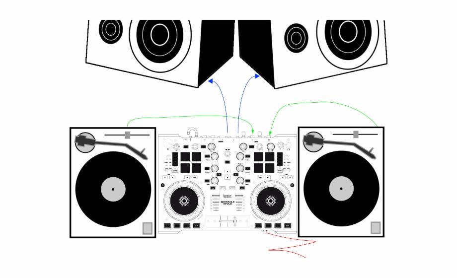 Dj clipart dj equipment. Turntable sound line art