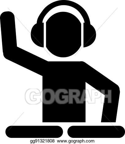Dj clipart dj turntable. Eps vector with turntables