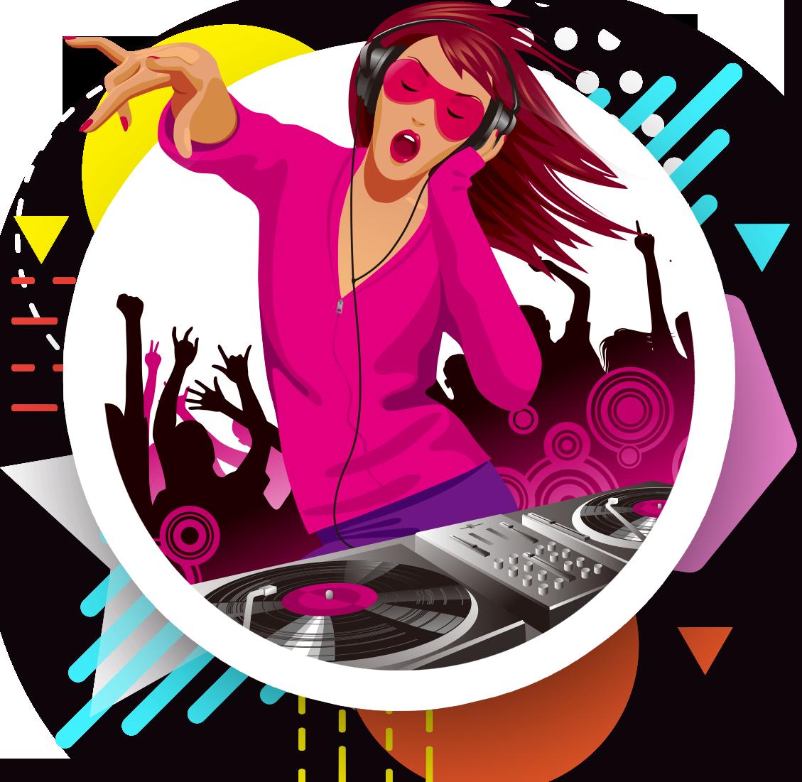 Disc jockey nightclub illustration. Dj clipart girl dj