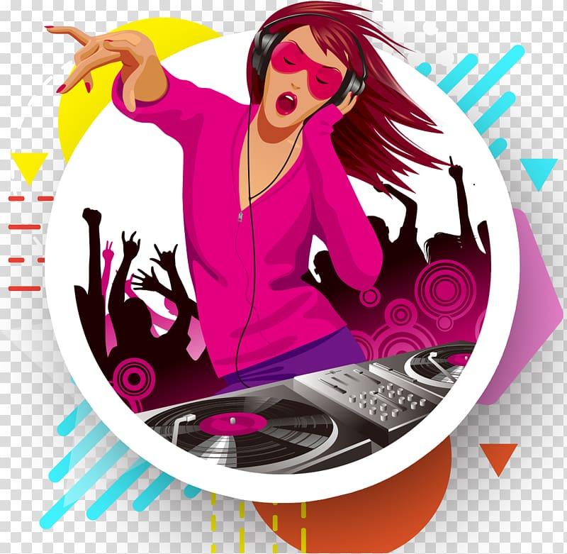 Female illustration disc jockey. Dj clipart girl dj