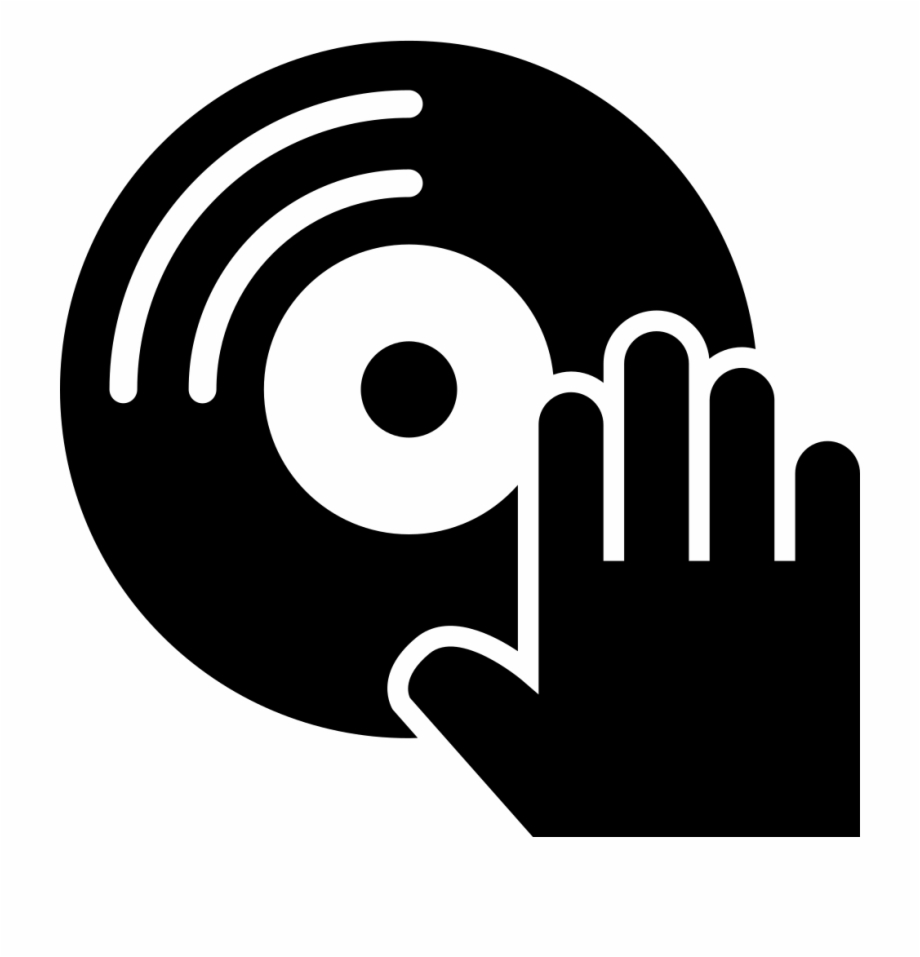 Musical disc and svg. Dj clipart hand
