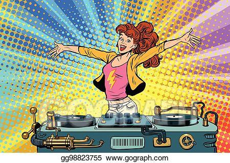 Dj clipart pop music. Eps illustration girl club