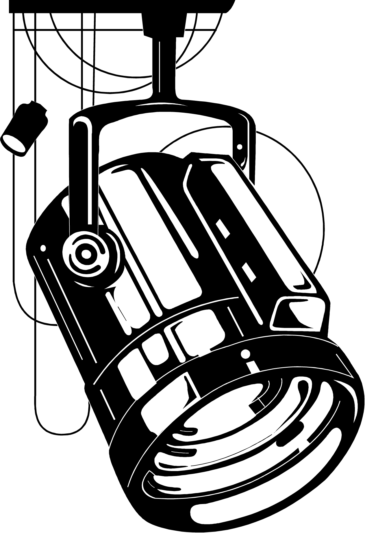 Stage light drawing at. Flashlight clipart black and white