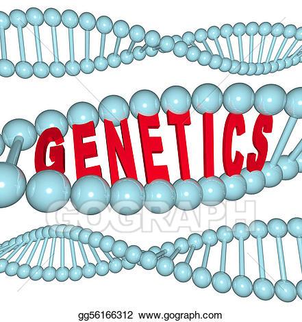 Dna clipart heredity. Stock illustration genetics word
