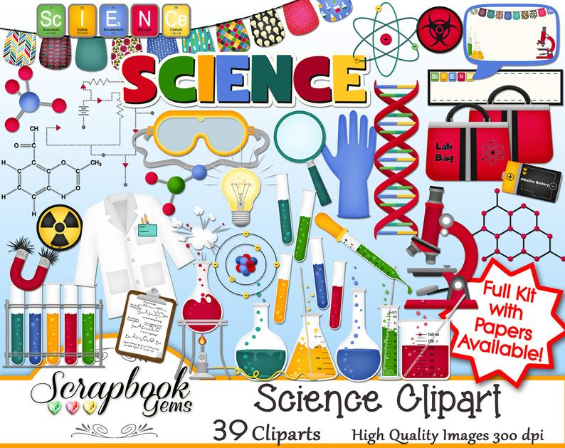 Science and papers kit. Dna clipart jpeg