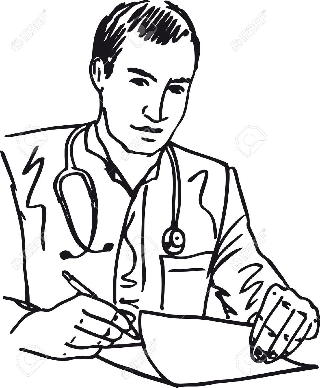 Doctor clipart. Black and white writings