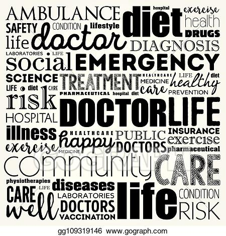 Eps illustration word cloud. Doctor clipart collage