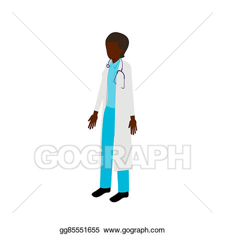 Drawing isometric afro american. Doctor clipart ethnic