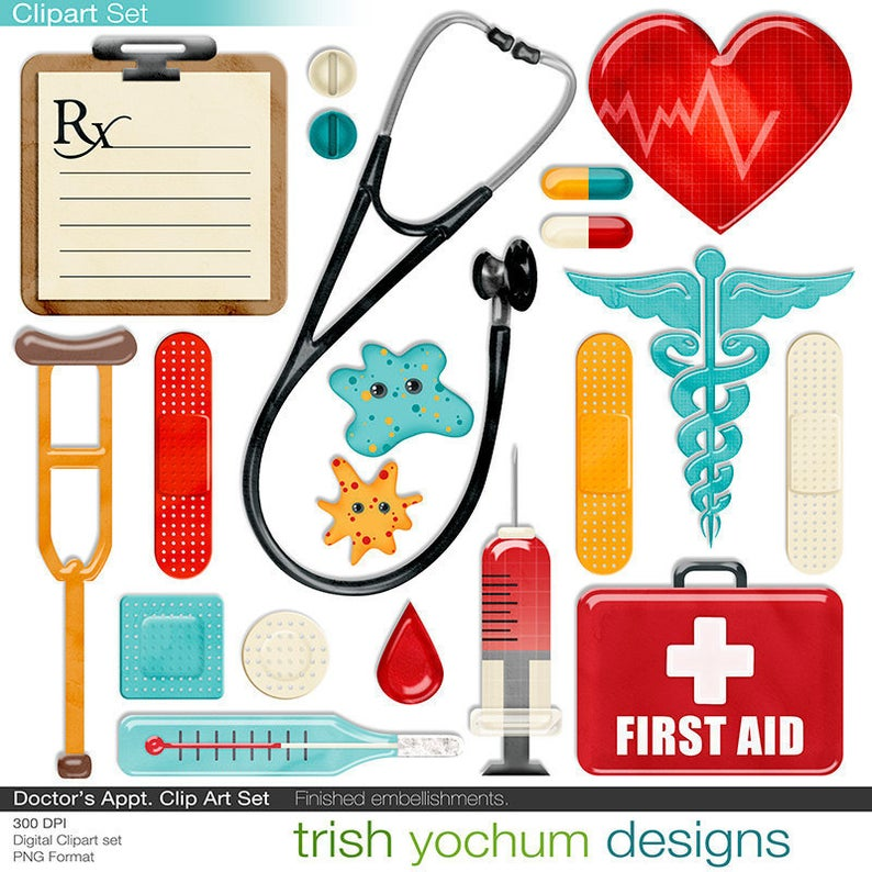 Medical digital clip art. Doctor clipart kit