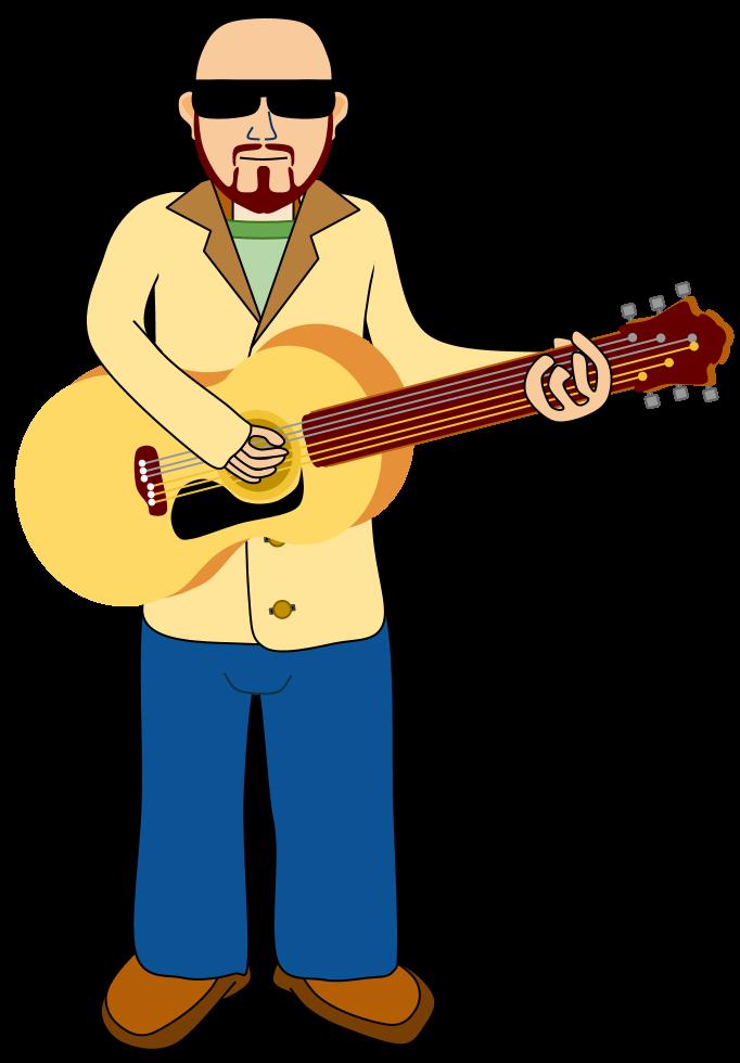 Free guitar player cartoon. Musician clipart rhythmic