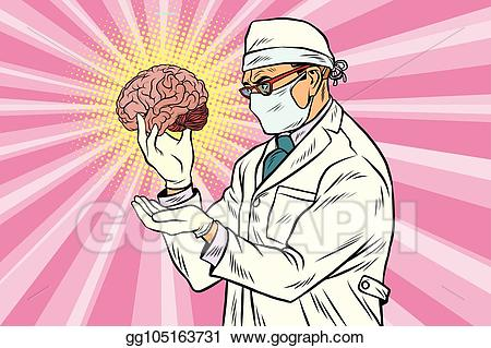 Psychology clipart brain surgeon. Eps illustration doctor and