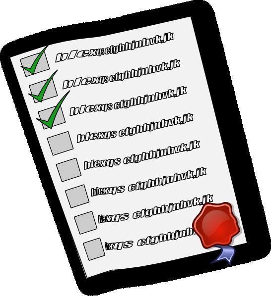 List clipart checklist. Check clip art at