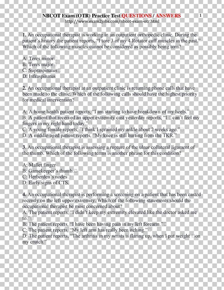 Nbcot cota flashcard study. Essay clipart exam sheet