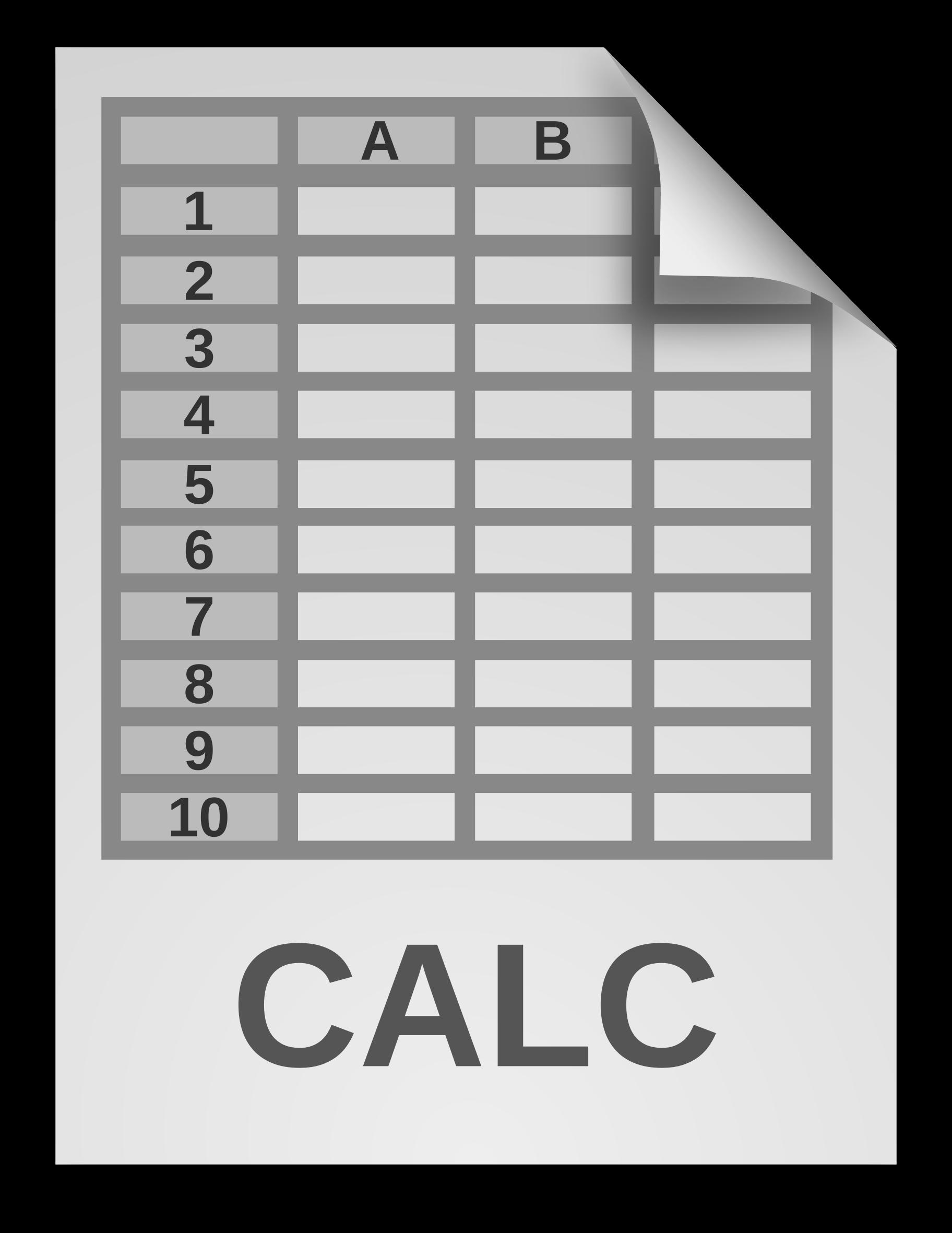 Document clipart generic. Spreadsheet icon big image