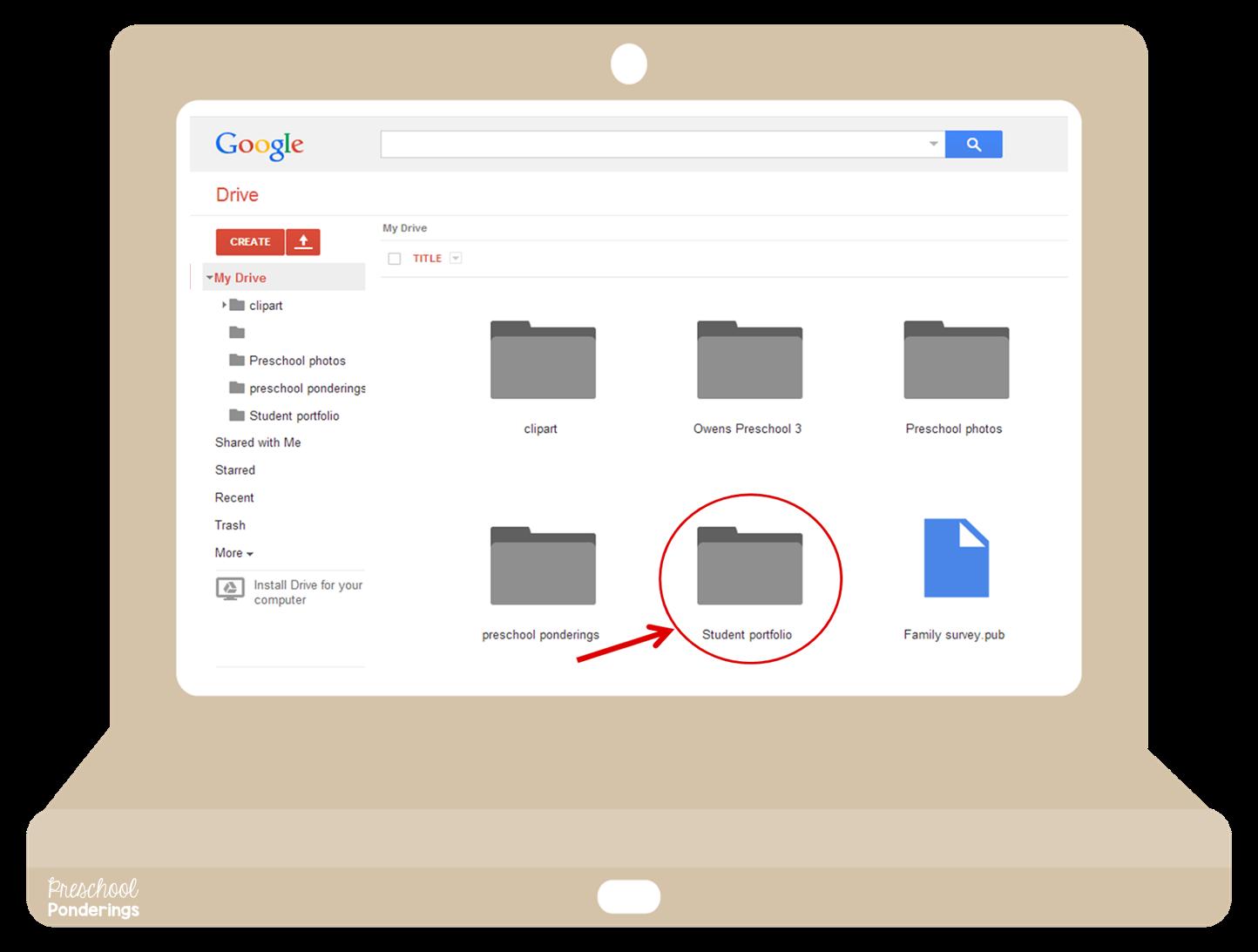 Preschool ponderings google drive. Folder clipart documentation