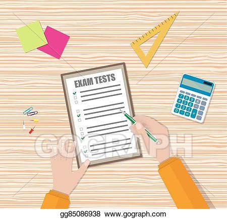 Vector art student hand. Document clipart test paper