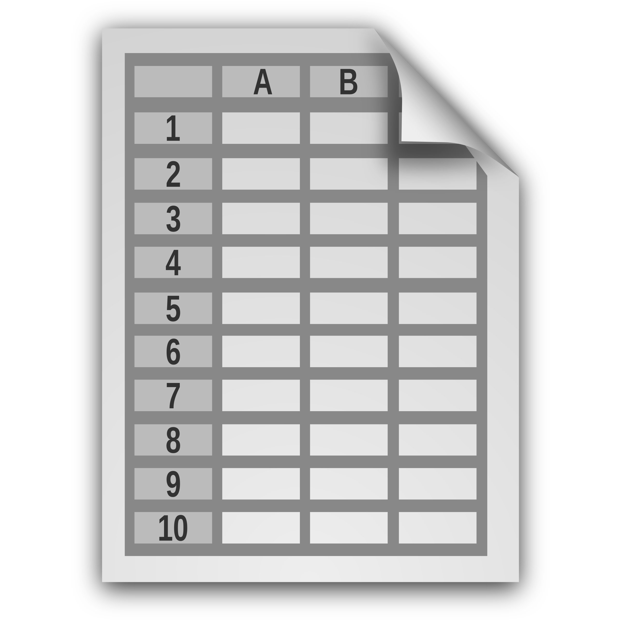 Spreadsheet icon with no. Document clipart text