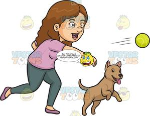 A woman throwing for. Dogs clipart ball