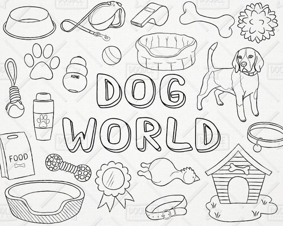 Vector pack puppy pet. Dog clipart doodle