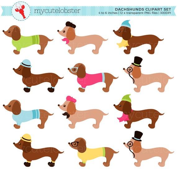 Dog clipart fashion. Dachshunds set sausage dogs