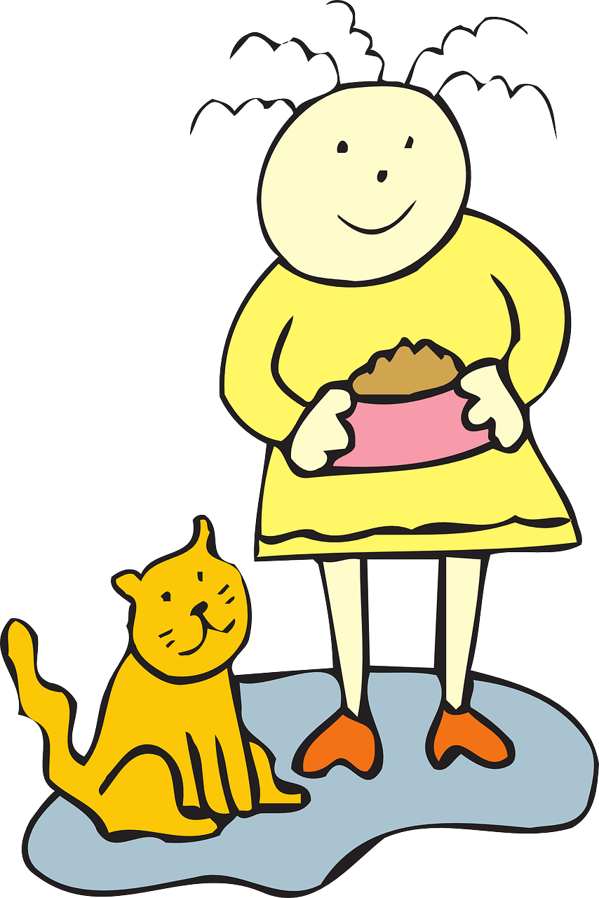 Cat food bowl girl. Wildcat clipart baby