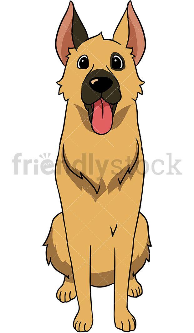 Shepherd dog standing straight. German clipart happy