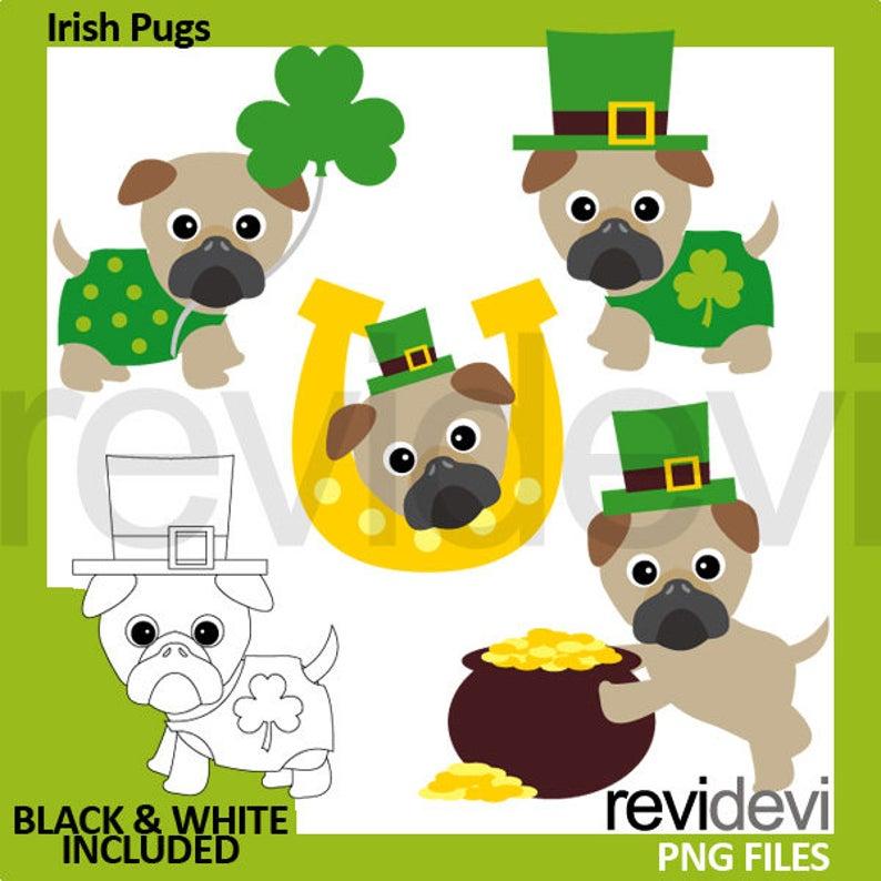 Irish pug pugs clover. Dog clipart st patrick day