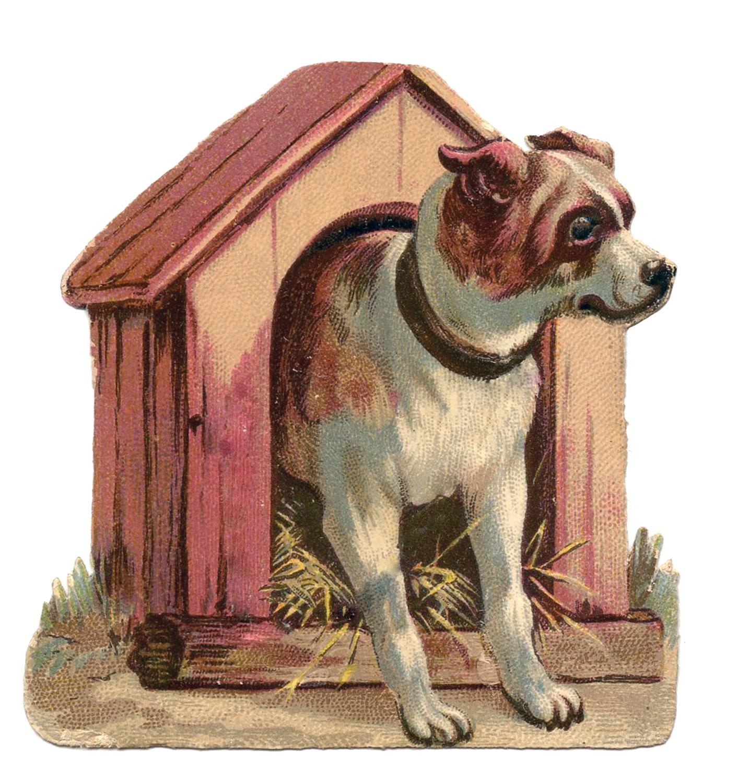 Vintage clip art dog. Doghouse clipart