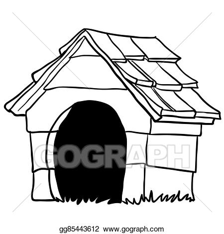 Doghouse clipart black and white. Vector illustration dog house
