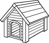 Dog house panda free. Doghouse clipart black and white