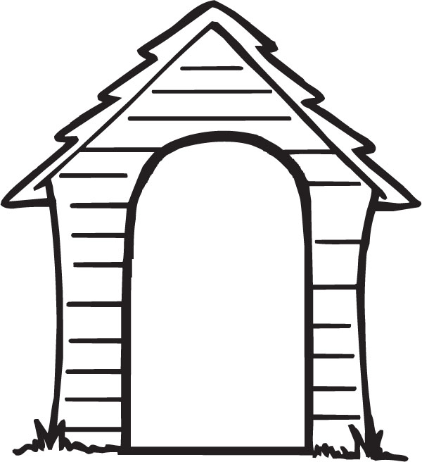 Dogs in a dog. Doghouse clipart black and white
