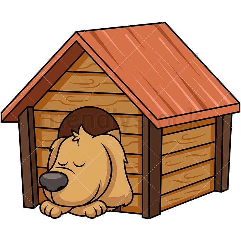 Doghouse clipart cat house. Doggy sleeping inside dog