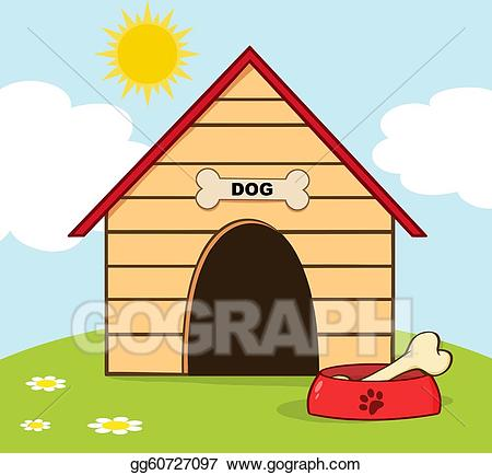 Vector stock house with. Doghouse clipart dog door