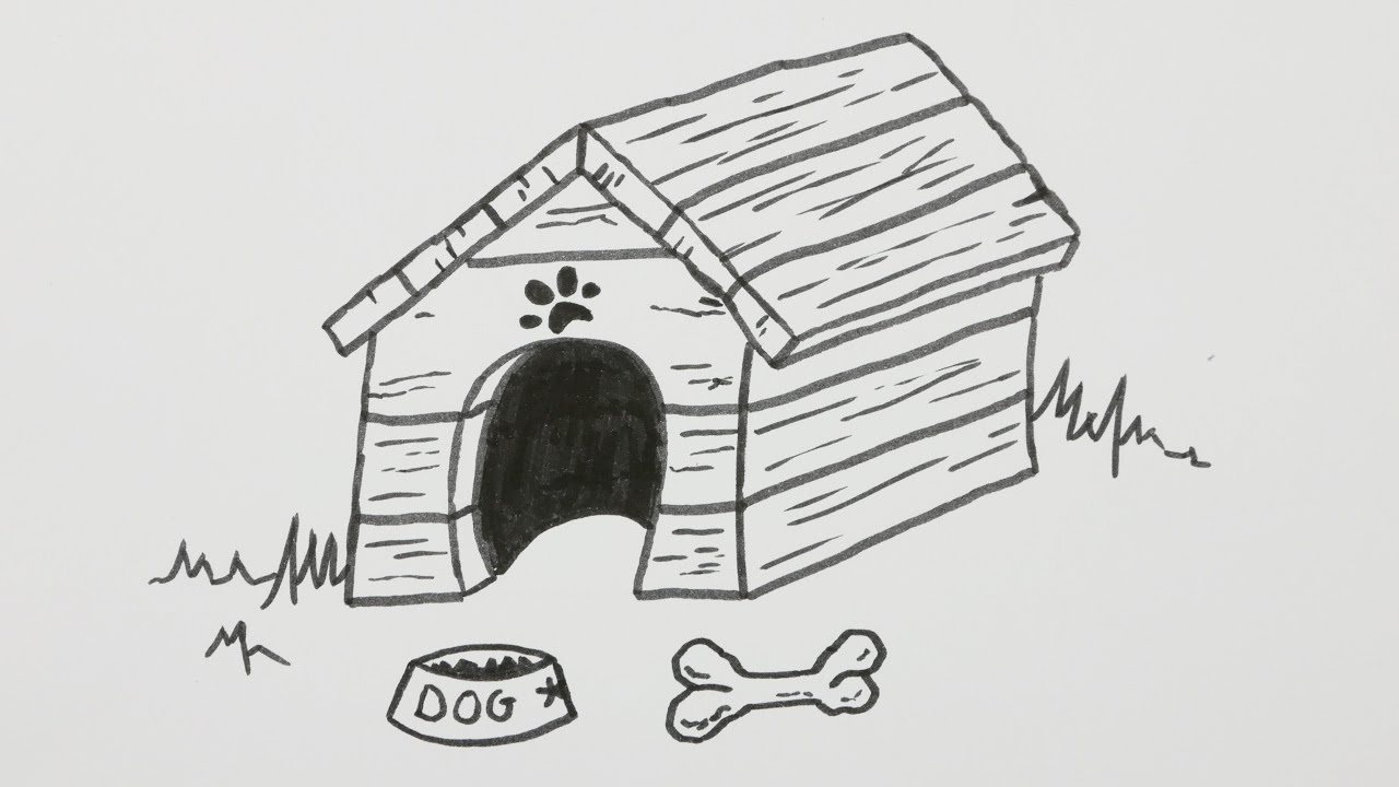 Doghouse clipart dog pen. How to draw a