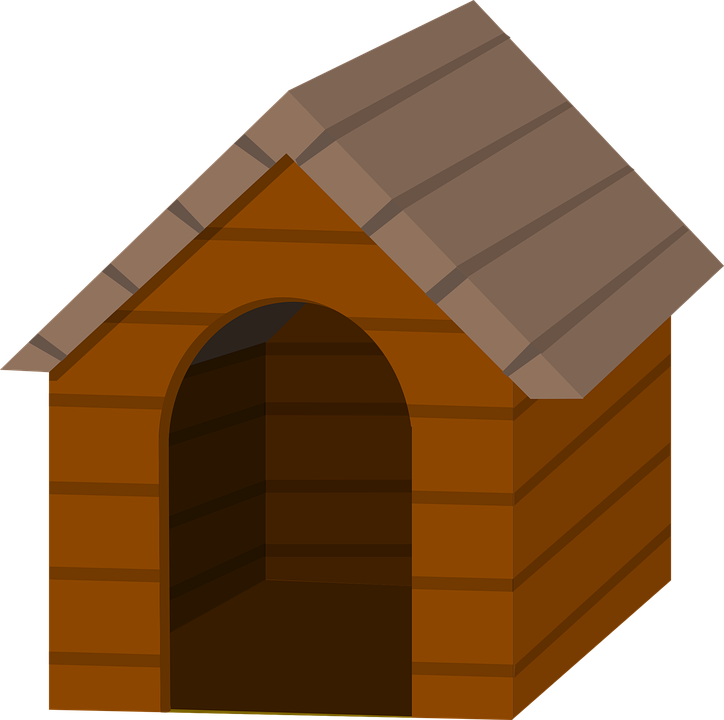 Husband sees his wife. Doghouse clipart dog shelter