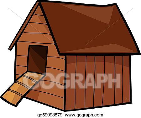 Vector illustration gg . Doghouse clipart hen house