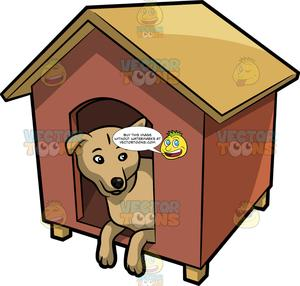 A curious dog looking. Doghouse clipart inside outside