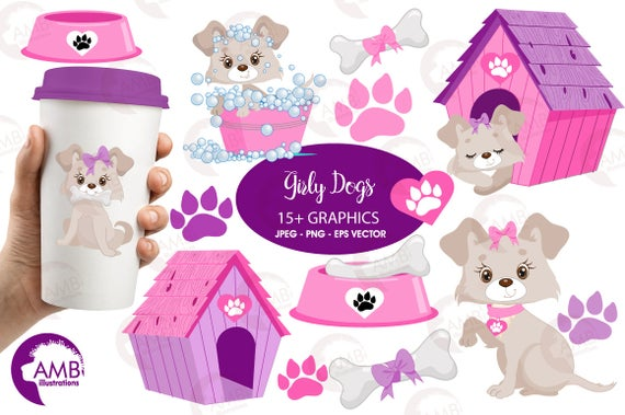Doghouse clipart puppy. Dog clip art girl