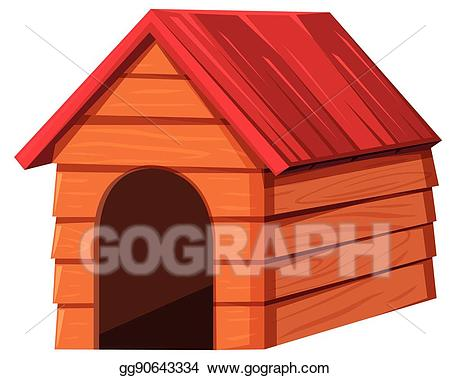 Vector art with roof. Doghouse clipart red