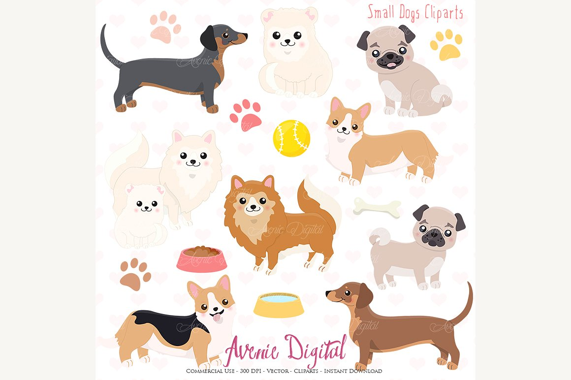 Cute and vectors illustrations. Dogs clipart