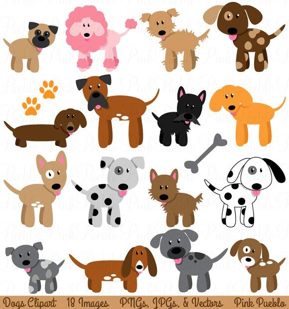 Pet clipart 5 dog. And puppy vectors illustrations