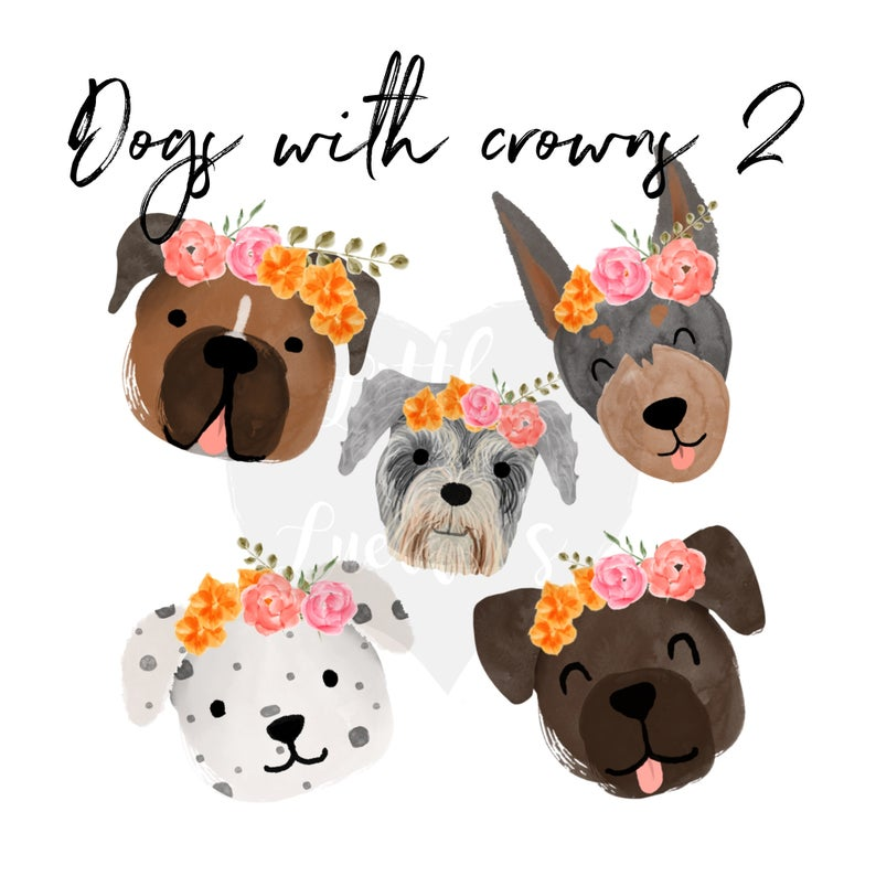 Dogs clipart flower. With crowns dog doberman