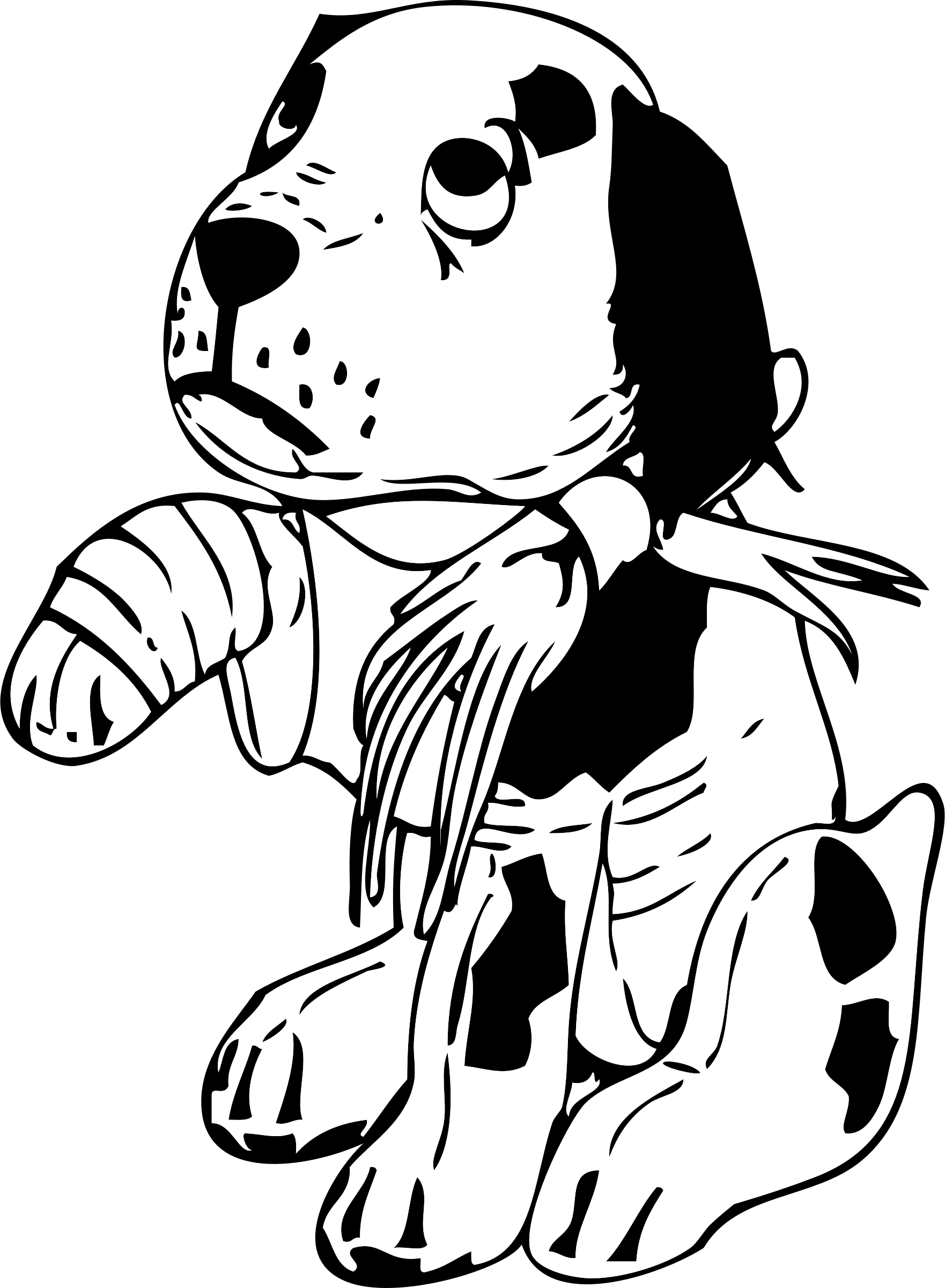 Sad dog with a. Legs clipart black and white